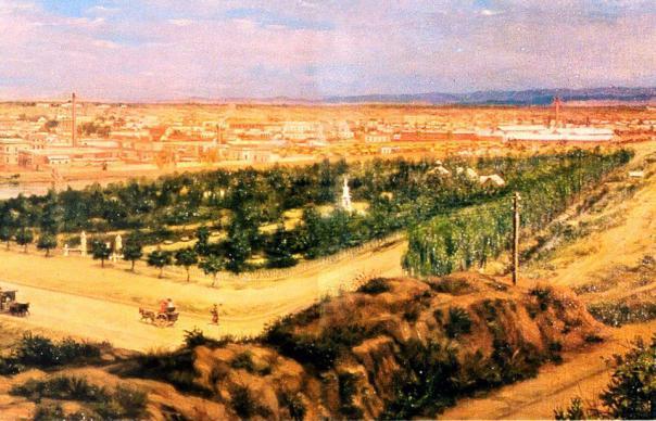 cuadro de Honorio Mossi e ilustra a Córdoba de 1895 ----