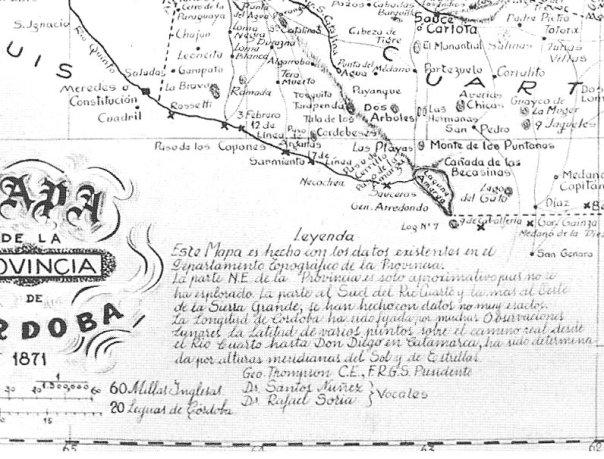 Mapa de la provincia de Córdoba hecho por el Departamento Topográfico de la Provincia en el año 1871