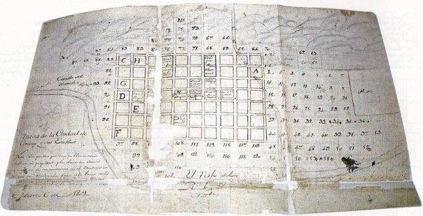 Plano dibujado en 1809 según la traza original que ordenara realizar Lorenzo Suárez de Figueroa en el año 1577.