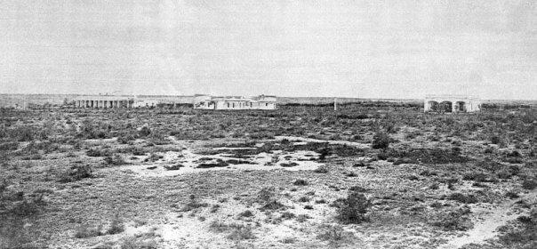 Vista desde el norte del Observatorio Nacional Argentino, en la que se puede apreciar la aridez del terreno de Los Altos 1872