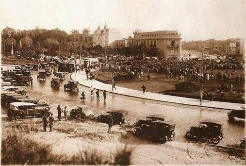 vista parcial de la Plaza España a principios del siglo XX.