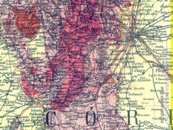 Vista parcial del mapa de Brackebush, 1888, zona de sierras de Córdoba